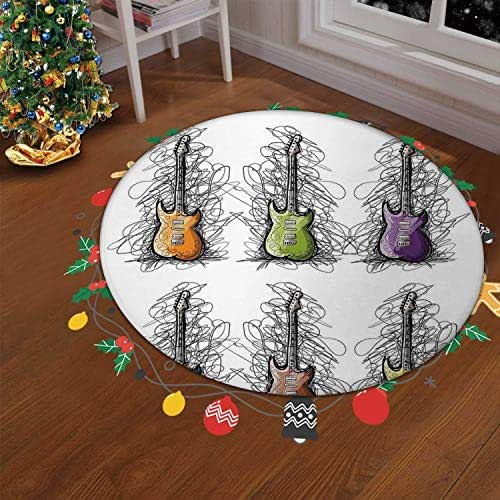 okjeff Decor Christmas Indoor/Outdoor Rug Bathroom Rugs Soft Non Slip Floor Carpet Bedroom Living Room Decorative,Sketchy Lined Colored Design Guitar Collage for Teens Rocker Song Lovers Image,6.23 f