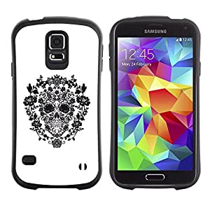 Suave TPU Caso Carcasa de Caucho Funda para Samsung Galaxy S5 SM-G900 / Floral Wreath White Black Skull Death / STRONG