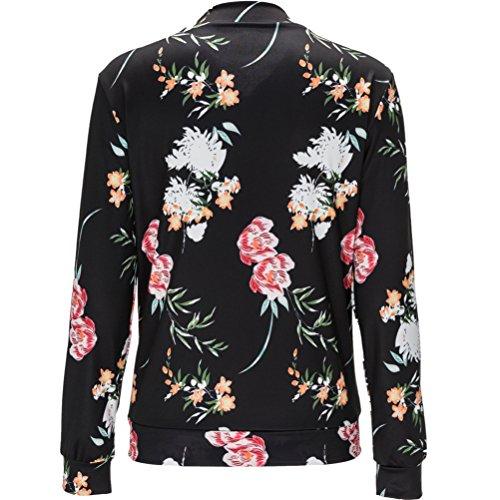 Bomber Femmes Zipper Cool Noir longues mince floral Fashion manches Jacket lger imprim 8rwI8Oqd