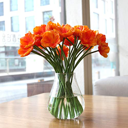 Mandy's 30pcs Latex Orange Poppies Silk Artificial Flowers Real Touch for Wedding Home & Kitchen 12.5