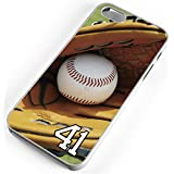 iPhone Case Fits iPhone 6 PLUS 6+ Baseball Glove Ball Wooden Bat Mitt Any Custom Jersey Number 41 Clear Plastic