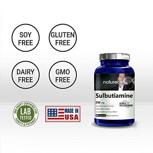 Maximum Strength Sulbutiamine 300 mg 60 Capsules, Ultra Nootropics Supplements, Cognitive Enhancer, Powerfully Reduces Fatigue, Enhances Memory Learning & Concentration Non GMO and Made in USA