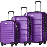 Merax Luggages 3 Piece Luggage Set Lightweight Spinner Suitcase (Purple)