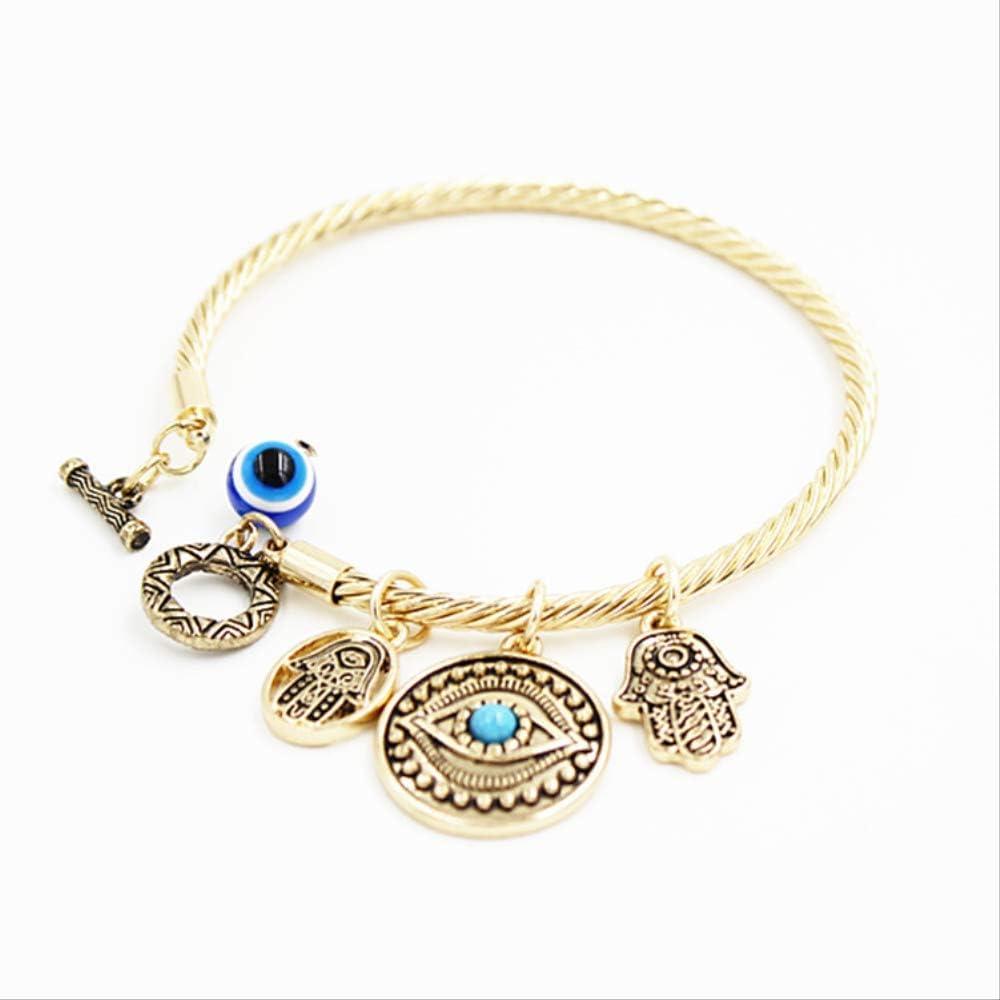Nobrand Moda Oro Plata Piedra Azul Azul Azul Evil Eye Hamsa Mano Fatima Palma Brazalete De Pavo para Las Mujeres Joyería Fina