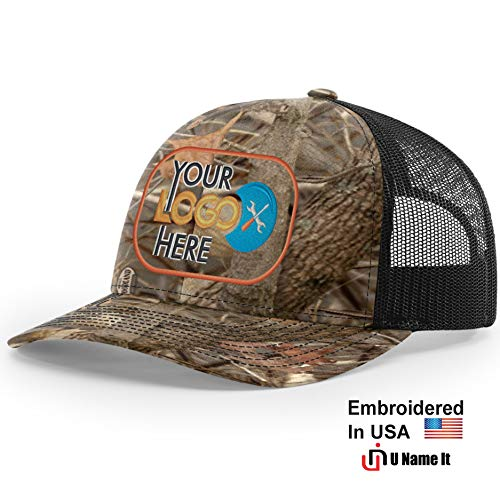 Custom Richardson 112 Hat with Your Logo Embroidered Trucker Mesh Snapback Cap (Adjustable Snapback Realtree Colorway, Kings Woodland -