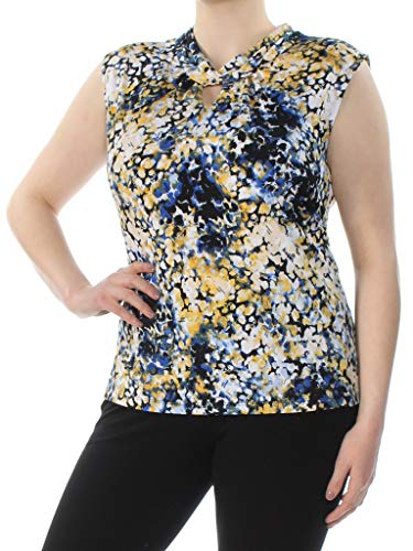 (Tahari $44 Womens New 0056 Blue Printed Cap Sleeve Top 39 Waist Plus B+B)