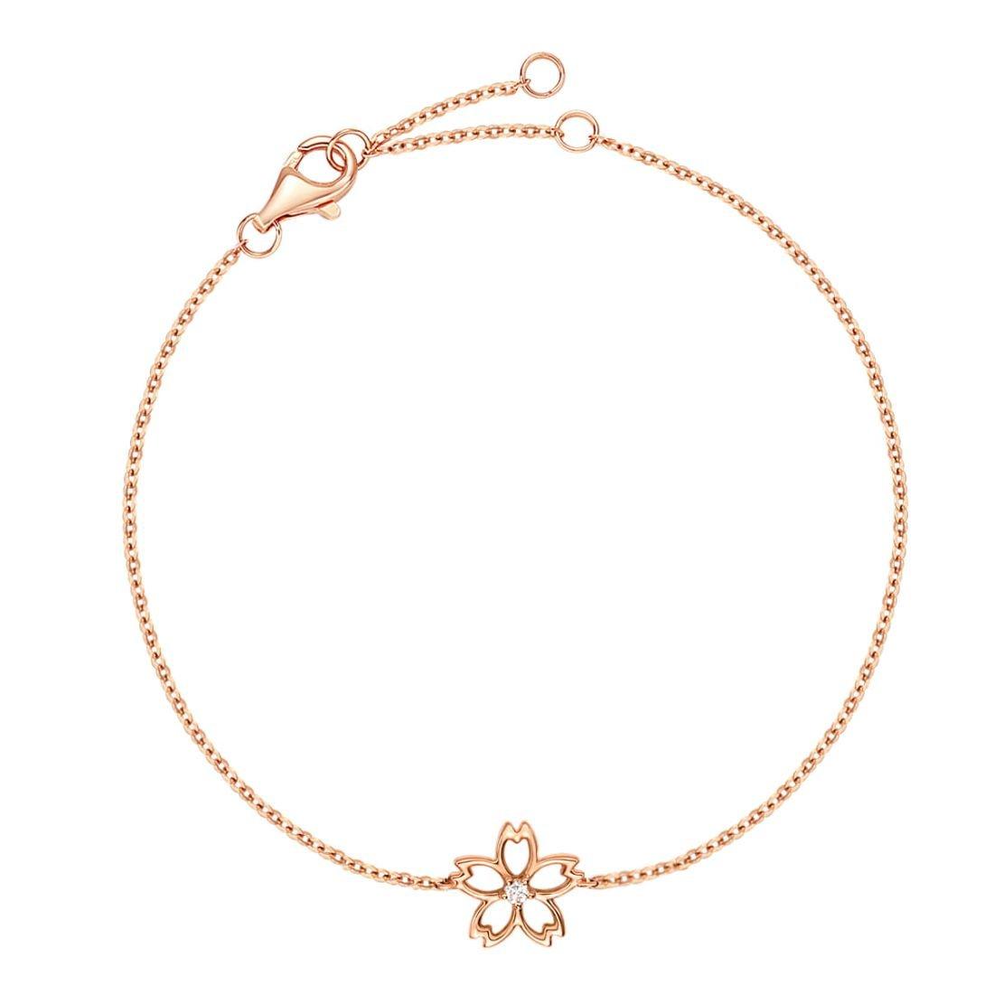 Carleen 14K Solid Rose Gold Diamond Cute Cherry Blossom Flower Delicate Bracelet Dainty Fine Jewelry for Women Girls, 7 inch by Carleen