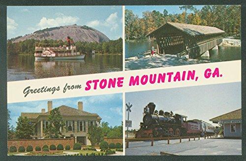 Stone Mountain Georgia Multiview Scene Railroad Train Plantation Paddlewheeler Postcard