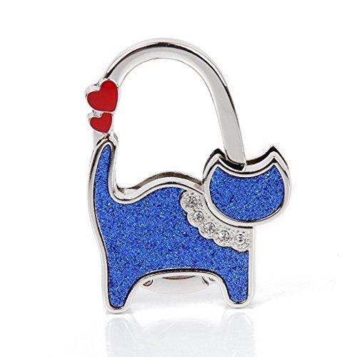 Soporte Alltree Xff09; Plegable Mano Gato Azul Bolsa Xff08; La De Colgador Gancho Ladie Y Bolso Mesa Corazón qarqv