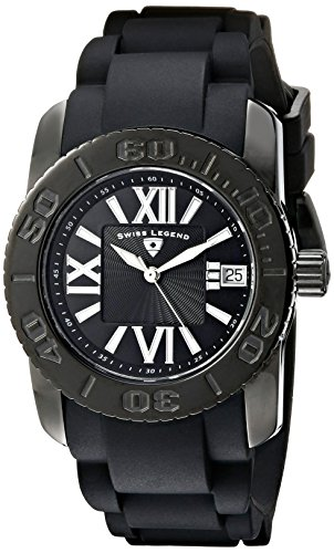 Swiss Legend Women's SL-10114-BB-01 Commander Black Polyurethane and Stainless Steel Watch by Swiss Legend