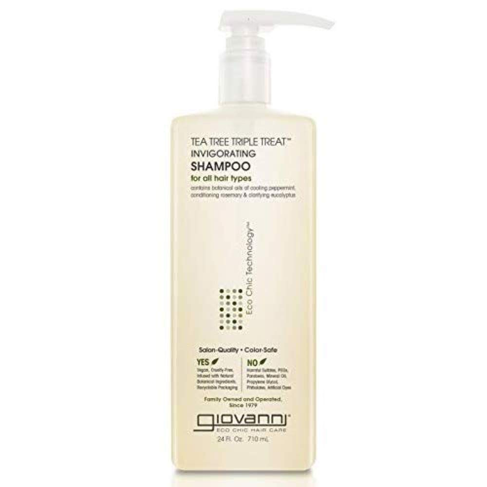 Giovanni Invigorating Tea Tree Shampoo - Triple Treat Strengthening, Conditioning, and Clarifying Daily Formula 24 Fl Oz (Pack of 1)