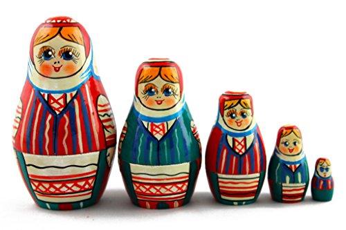 [Matryoshka Matrioska Babuska Russian Nesting Wooden Doll Belarusian Folk Costume 5 Pc Stacking Hand Painting Beautiful Nested Great Craft Matriosjka Matrioska Matreshka Matrjosjka] (Babushka Doll Costume)