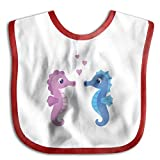 Cute Cartoon Seahorse Couple Soft Cotton Newborns Bid Pinafore Saliva Towels Red