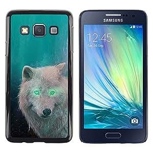 Stuss Case / Funda Carcasa protectora - White Wolf Green Eyes Alien Forest Magic - Samsung Galaxy A3 SM-A300