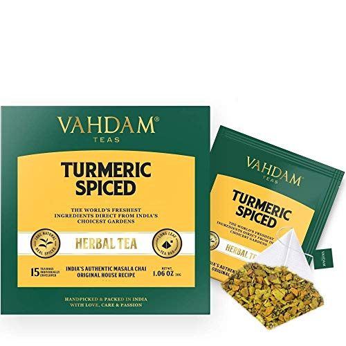 VAHDAM, Turmeric Spiced Herbal Tea (30 Tea Bags) | 2018 SOFI AWARD WINNER | INDIA'S WONDER SPICE | Blend of Turmeric Powder & Fresh Spices | Turmeric Tea for Weight Loss | Natural Turmeric Supplement