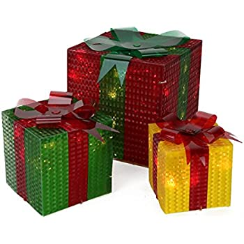 northlight seasonal 3 piece glistening prismatic gift box lighted christmas yard art decoration set - Lighted Christmas Presents