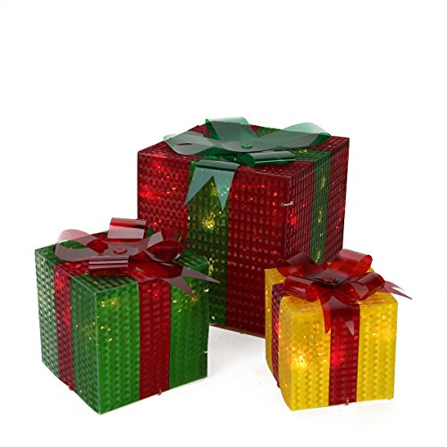 Outdoor Lighted Gift Box Decorations in US - 5