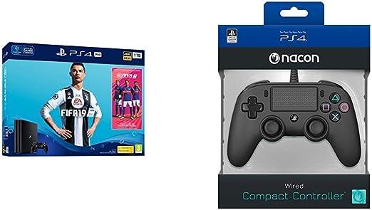 PS4 Pro 1TB + FIFA 19+Nacon - Mando Compacto para PS4, color Negro ...