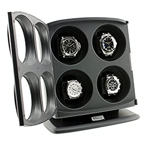 [ON Sale] Versa Quad Watch Winder in Black – Independently Controlled Settings – Multiple Direction and Timer Settings – Adjustable Watch Pillow – Plenty of Space for Large Watches