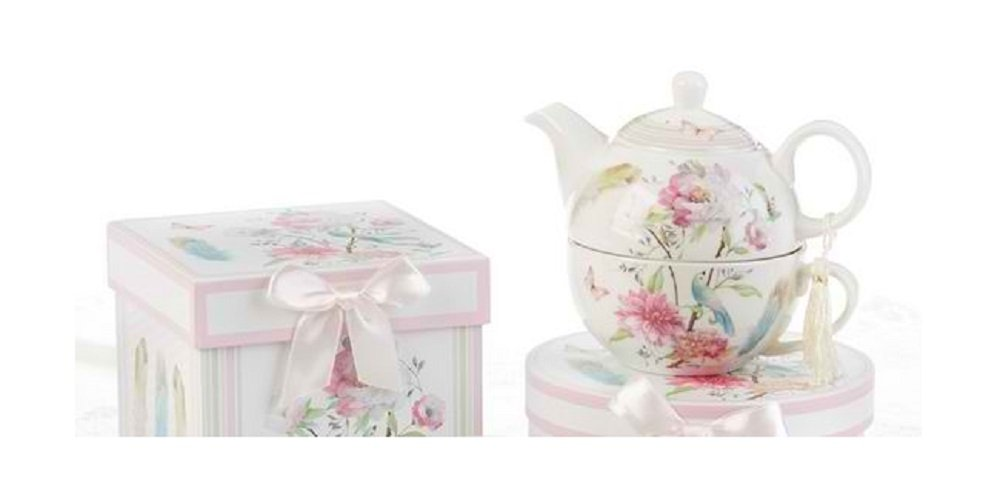 Delton Products Feather & Floral 5.8 inches Porcelain Tea for One in Gift Box Serveware 8138-6