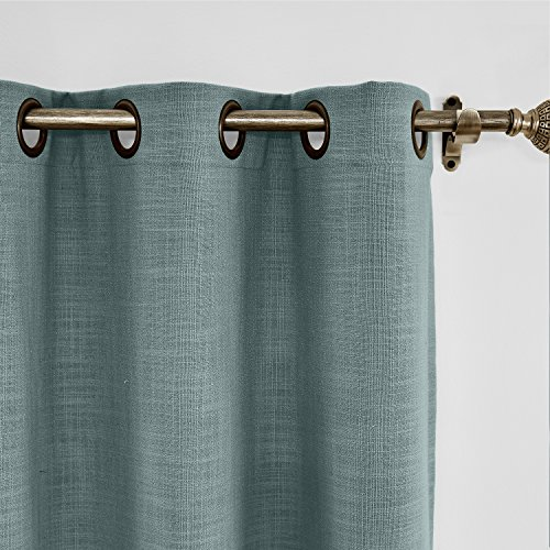 ChadMade 120W x 84L Inch Blue Grey Linen Polyester Curtain Drapes with Blackout Lining, Room Darkening Antique Bronze Grommet Curtain for Sliding Glass Door Patio Door Living Room (1 Panel)