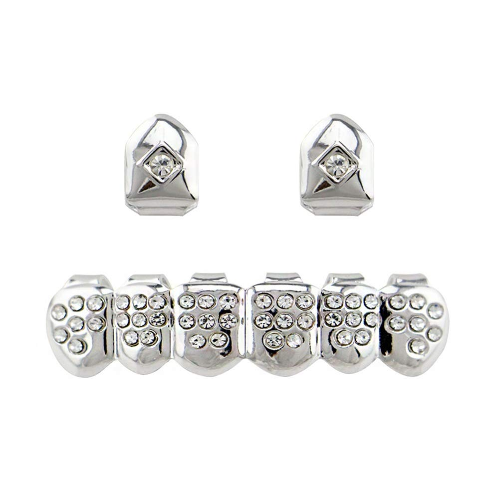 JUMERY Teeth Grillz Cap Gold Grill Teeth Set Gold Plating Grills Top and Bottom Grill Set - Hip Hop Bling Grills (Color : Silver) by JUMERY