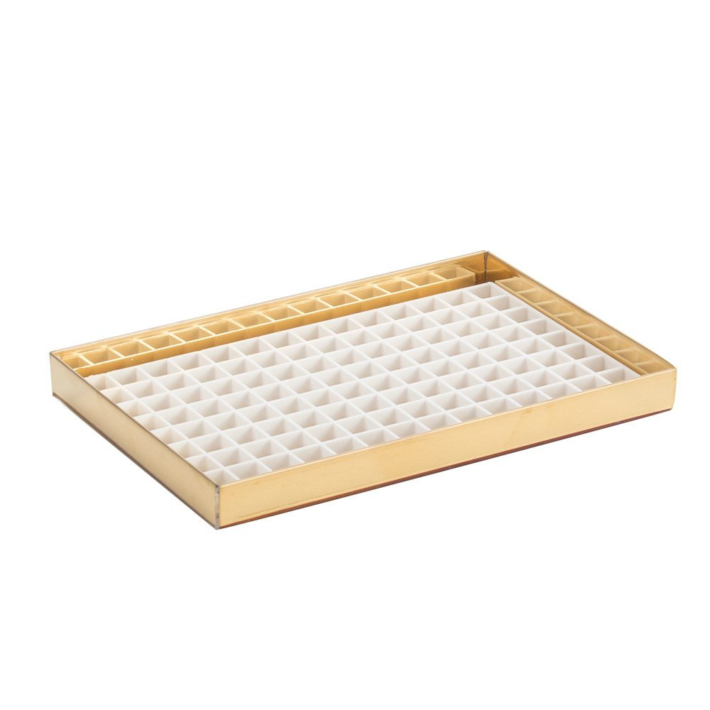 "8 1/8"" Countertop Metal Drip Tray - Brass - No Drain"