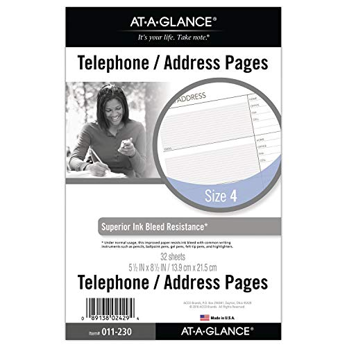 Day Runner Undated Planner Telephone and Address Refill, 5.5 x 8.5 Inches -