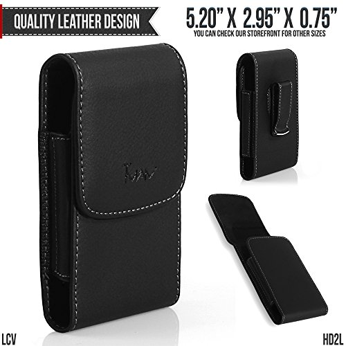 Motorola i897 Ferrari Special Edition Belt Pouch, TMAN [Large Leather Vertical] with Otterbox, Lifeproof, Battery Case on - Metal Clip Holster / Magnetic Closure Case, Cover with Belt - Ferrari Specials