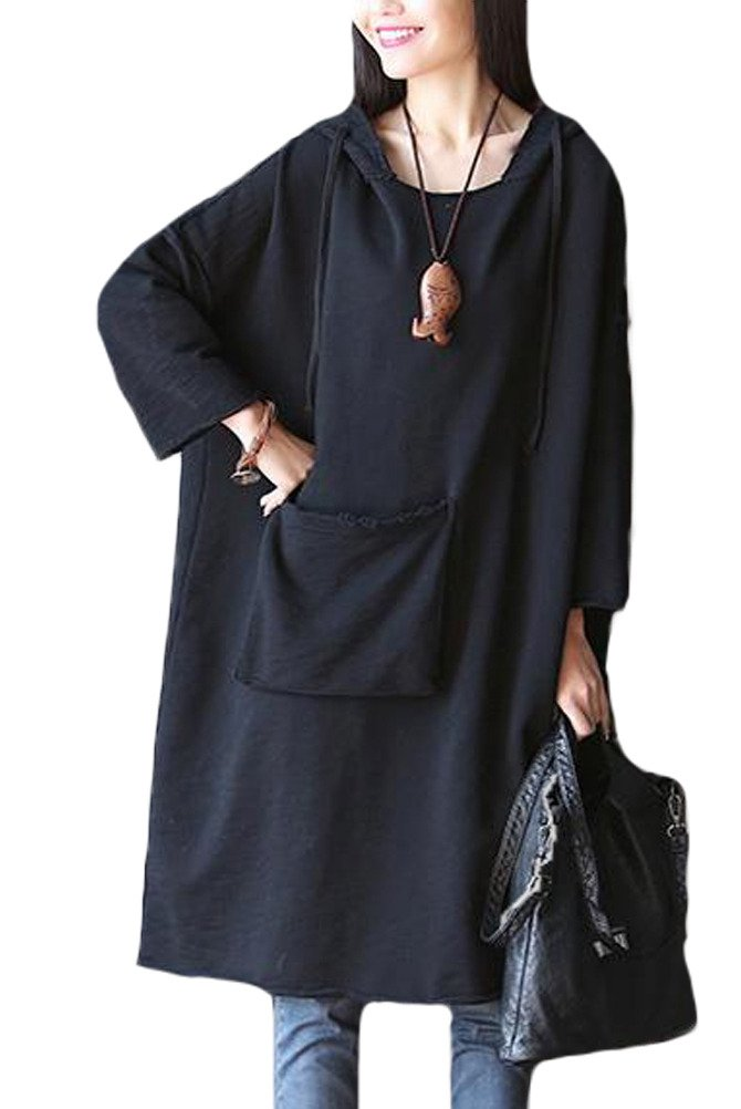 Mordenmiss Women's 2016 New Loose Long Top Cotton Hoodies Dress With Front Big Pocket Black, One Size