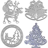 Dies Cuts Christmas for Card Making Cutting Die Scrapbooking Photo Album Metal Xmas Day Trees Santa Claus Reindeer Deer Windbell Decoration Decorative Embossing DIY Paper Cards Gift(Set 10) (CDS14)