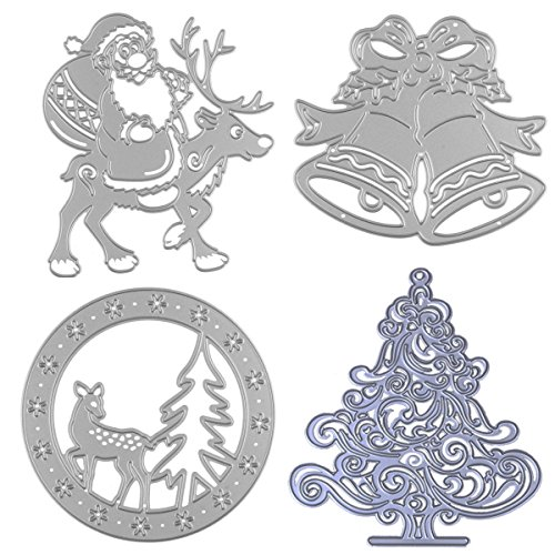 Dies Cuts Christmas for Card Making Cutting Die Scrapbooking Photo Album Metal Xmas Day Trees Santa Claus Reindeer Deer Windbell Decoration Decorative Embossing DIY Paper Cards Gift(Set 10) (CDS14)