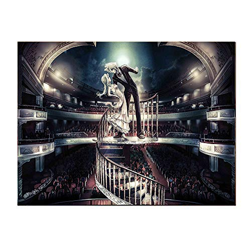 SATVSHOP Art Canvas prints-20Lx20W-Anime Couple Performing Love Scene in Theater Vintage Style Japan Manga Artwork Black Brown.Self-Adhesive backplane/Detachable Modern Decorative Art.