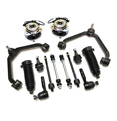 PartsW 14 Pc Front Suspension Kit for Ford Explorer Explorer Sport Trac Ranger Mazda B4000 Mercury Mountaineer, Control Arms, Sway Bars, Wheel Bearing and Hub Assembly, Rack & Pinion Bellows ()