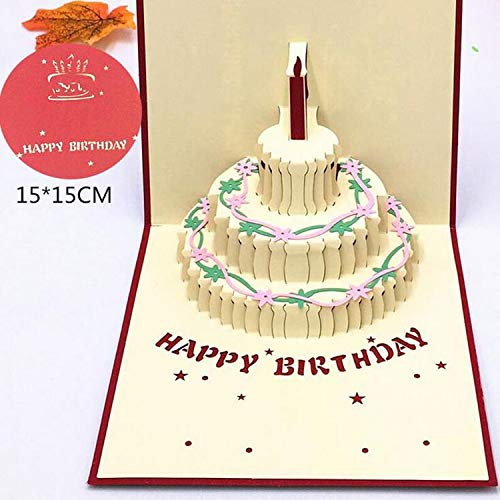 OUOK Happy Birthday Postcard Greeting Gift Cards Blank Paper 3D Handmade Pop Up Laser Cut Vintage Invitations Custom with Envelope,HK17004 -