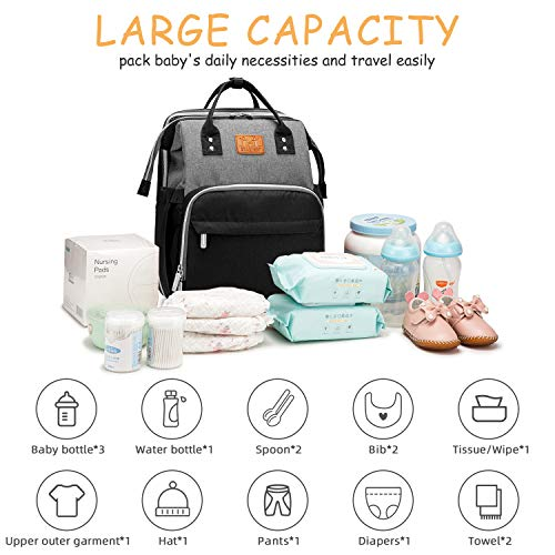 Diaper Bag Backpack with Portable Bassinet Bed for Baby, Multi-Purpose Travel Nappy Bag (Grayblack)