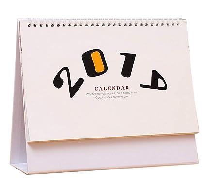 2019 - Calendario de mesa, diseño de cuadros, color blanco y negro ...