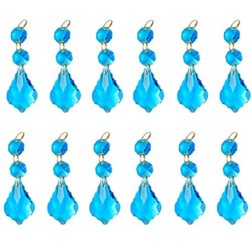 BIHRTC Pack of 12 Blue Maple Leaf Hanging Galss Crystal Beads Drop Pendants Chandelier Curtain Lamp Chain Prisms for Wedding Party Centerpieces Decoration