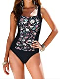Kyпить Firpearl Women's Retro One Piece Bathing Suit Ruched Tummy Control Swimsuit Black Floral US14 на Amazon.com