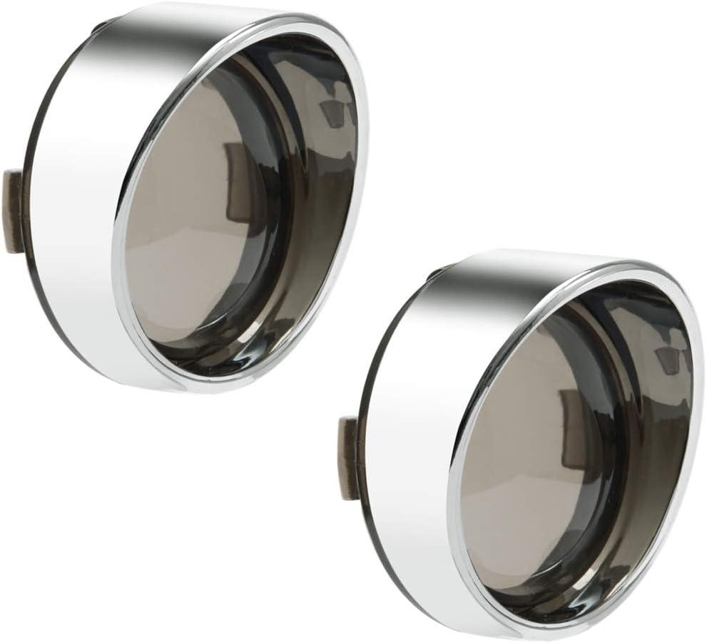 PBYMT 4pcs Smoke Turn Signal Lens Cover 2 Bullet Visor-Style Black Bezels Compatible for Harley Dyna Touring Street Glide Road Softail Custom Cruiser 2000-2020