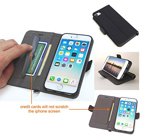 iPhone 8 / iPhone 7 / iPhone 6s / iPhone 6 Wallet Case, ID, Apple Card, Credit Card Case Pockets, Folio, Kickstand, Black, Strong Magnetic Closure, Model P1 by INNOVATIVECAREUSA.COM