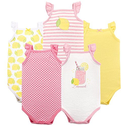 Hudson Baby Baby Sleeveless Cotton Bodysuits, 5 Pack, Lemonade, 6-9 Months