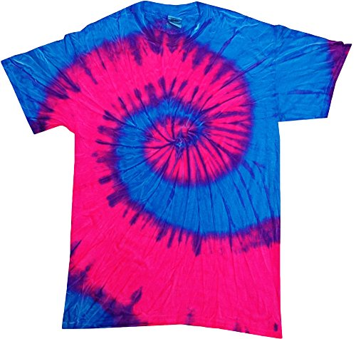 - Tie Dye Flo Blue Pink T-shirt 100% Cotton Adult Sizes (Medium)