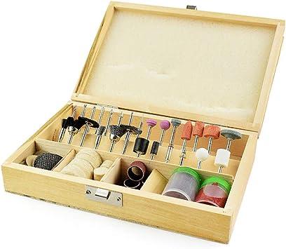 Caja de madera 100 unids Juego de Brocas para Herramientas Rotativas para Dremel Tools Multiherramientas Kit de Molienda Herramientas Abrasivas Mini Micro: Amazon.es: Bricolaje y herramientas