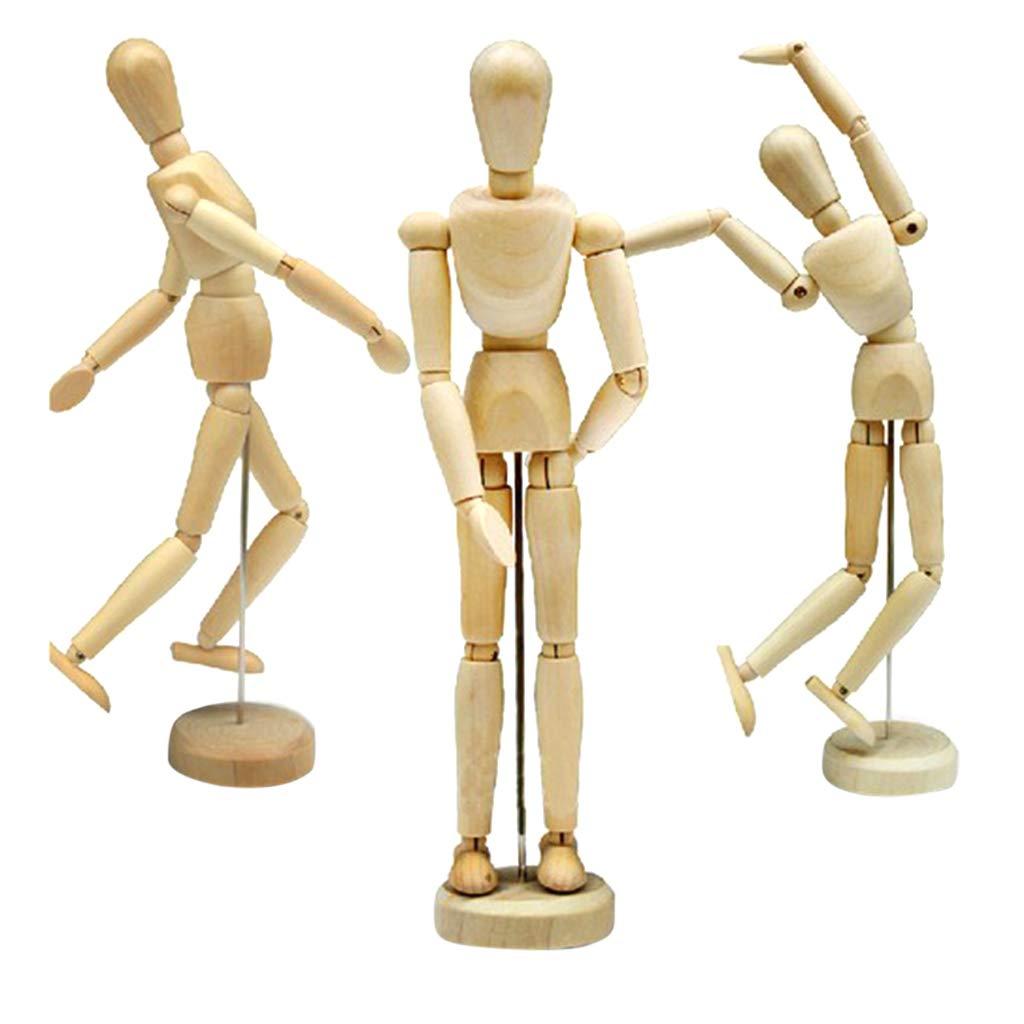 D DOLITY Modellpuppe, Gliederpuppen aus Holz, Hölzerne Figur Puppe, Unisex, 4,5/5,5/8 / 12 Zoll - 4,5 Zoll Hölzerne Figur Puppe