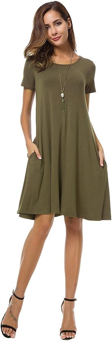 Coreal - Vestido - Camisa - para mujer verde oliva Medium ...