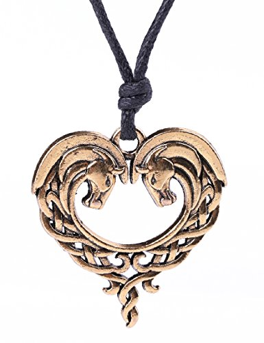 Irish Knots Animal Necklace Double Horse Heart Shape Pendant Necklace for Women Gifts (Antique Gold)