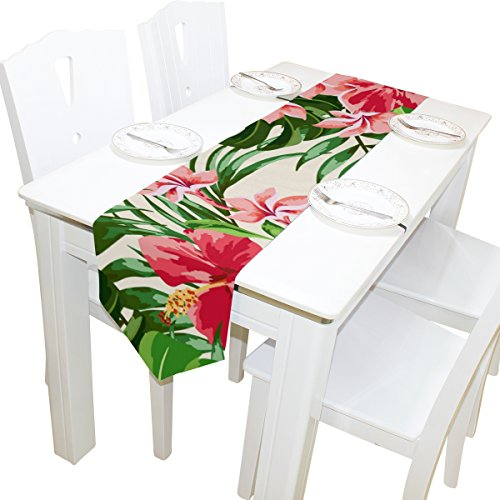 imobaby Tropical Hawaiian Plumeria and Hibiscus Flowers Table Runner Home Decor, Long Rectangle Tablecloth Mat for Wedding Party Banquet Decoration 13 x 90 Inch]()