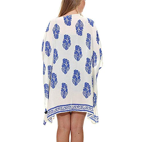 - WOCACHI Womens Kimono Cardigan, Women Floral Print Beach Loose Shawl Kimono Cover Up Top Cover Blouse Wide Openings Fall About 2/3 Down Arms Soft Comfortable Under Air Conditioning Daily