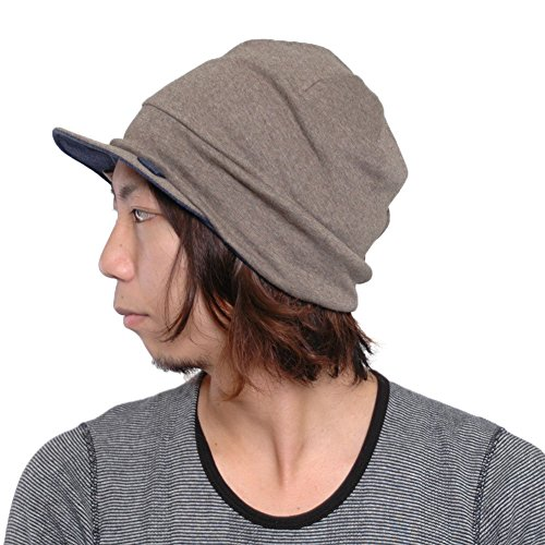 CHARM Organic Cotton Mens Beanie Cap - Womens Slouchy Peak Hat Sensitive Skin Chemo Wear Handmade Brown & Navy